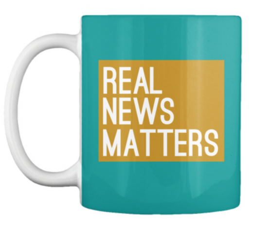 Gold Real News Matters Coffee Mug Local TV