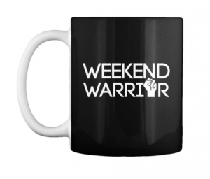 weekend warrior black coffee mug tv news local newsroom