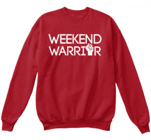 weekend warrior sweatshirt red tv news local newsroom