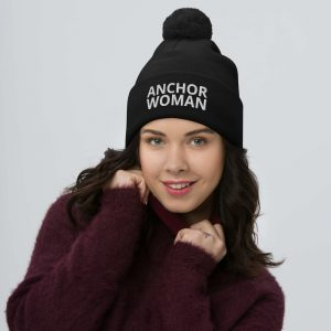 anchor woman pom-pom beanie black
