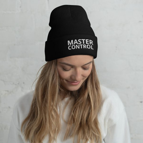 Master control cuffed beanie black with white embroidered writing