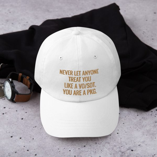 You Are A PKG Dad Hat Gold writing