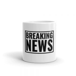 Breaking News coffee mug black white