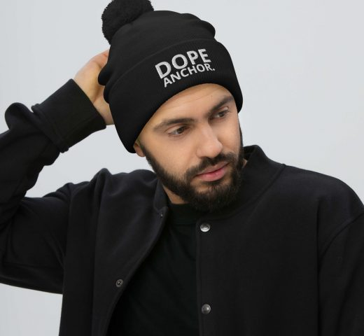 Dope anchor pom-pom beanie black with white embroidered writing