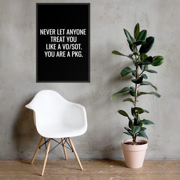 Never Let Anyone Treat You Like A VO/SOT. You Are A PKG Framed Poster White
