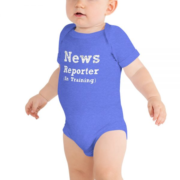 news reporter in training onesie blue