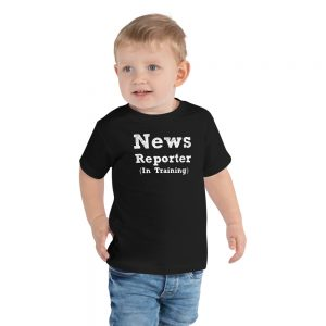 News reporter in training toddler tee black
