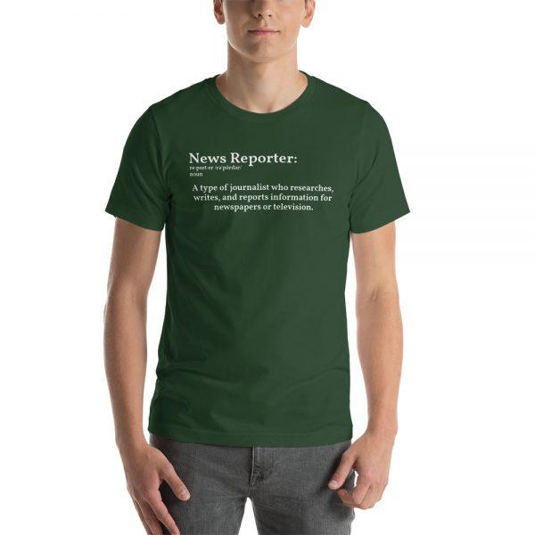 define reporter unisex tshirt green