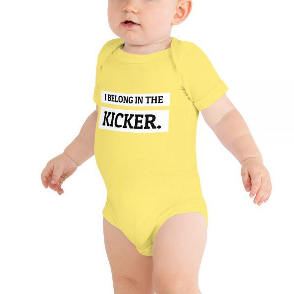 I belong in the kicker onesie yellow