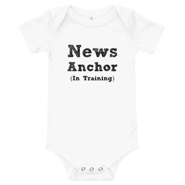 news anchor in training onesie white