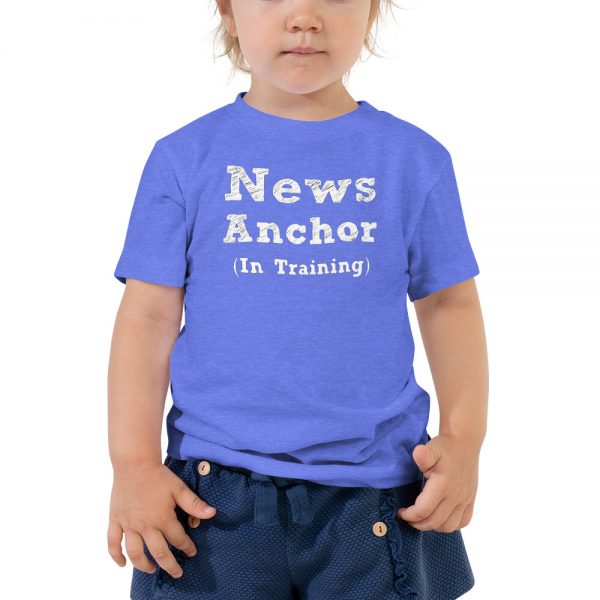 news anchor in training toddler tee blue