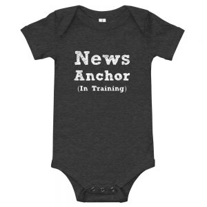 news anchor in training onesie black