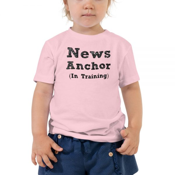 news anchor in training toddler tee pink