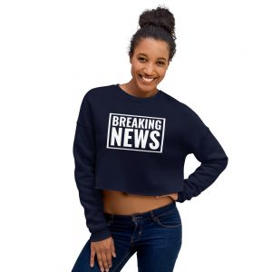 Breaking News Crop sweatshirt navy blue