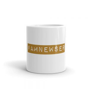 #AMNewser mug white with gold writing