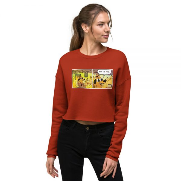 This Is Fine Crop Sweatshirt red