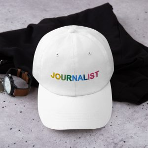 Journalist Pride Rainbow Dad Hat white