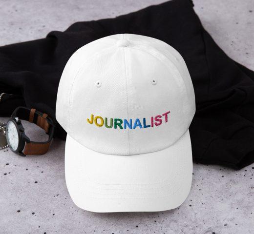 Journalist Pride Rainbow Dad Hat white