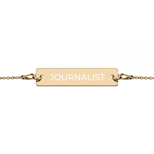 Journalist Engraved Bar Chain Bracelet gold