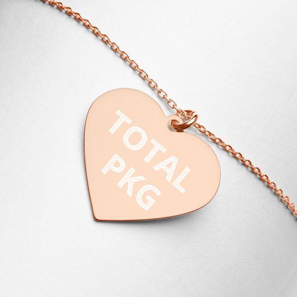 Total PKG Engraved Heart Necklace rose gold