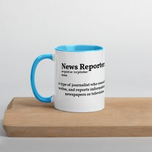 Define Reporter Mug with Color Inside Blue