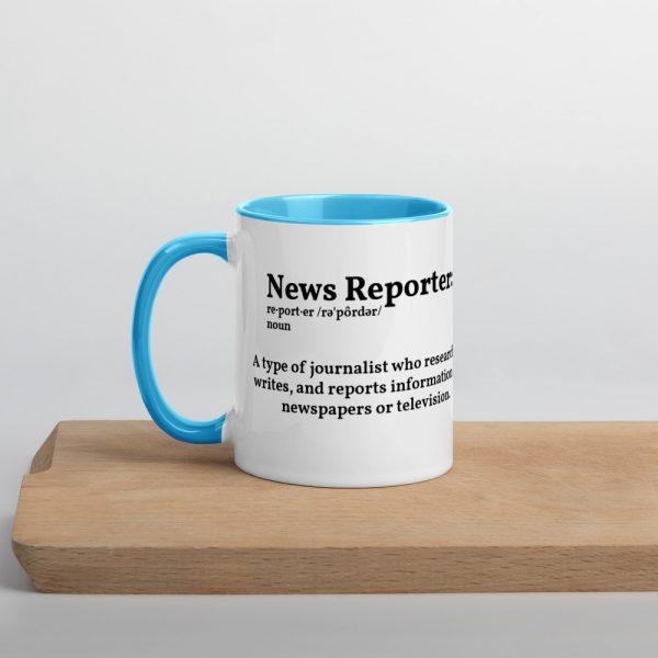 Define Reporter Mug with Color Inside Blue