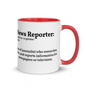 Define Reporter Mug with Color Inside For Lefties red