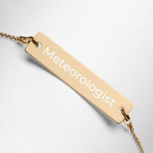 Meteorologist Engraved Bar Chain Bracelet Gold