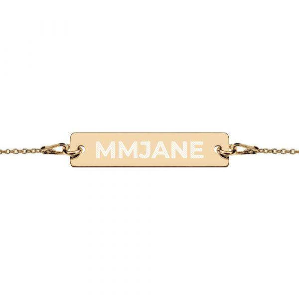 MMJANE Engraved Bar Chain Bracelet gold