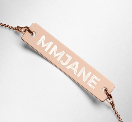MMJANE Engraved Bar Chain Necklace rose gold