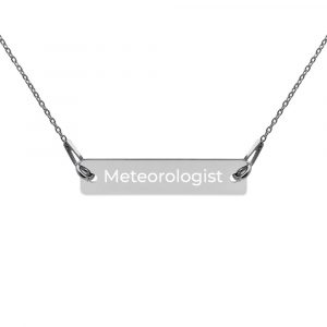 Meteorologist Engraved Bar Chain Necklace silver