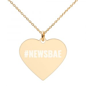 #NewsBae Engraved Heart Necklace gold
