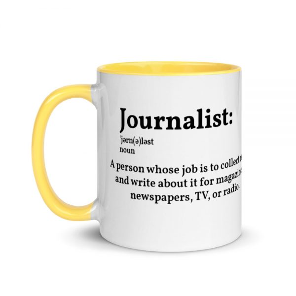 Define Journalist Mug with Color Inside yellow