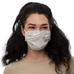 Newspaper Print Face Mask white