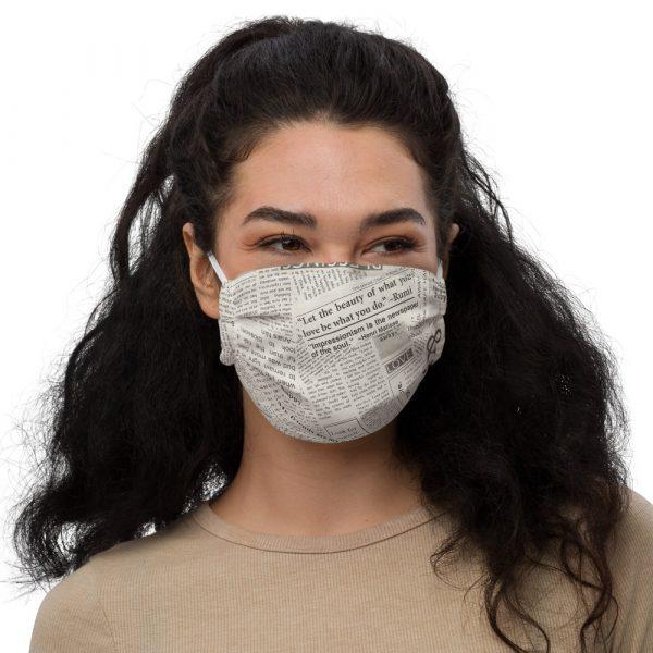 Newspaper Print Face Mask white