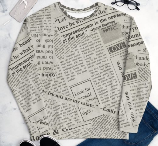Newspaper Print Unisex Sweatshirt