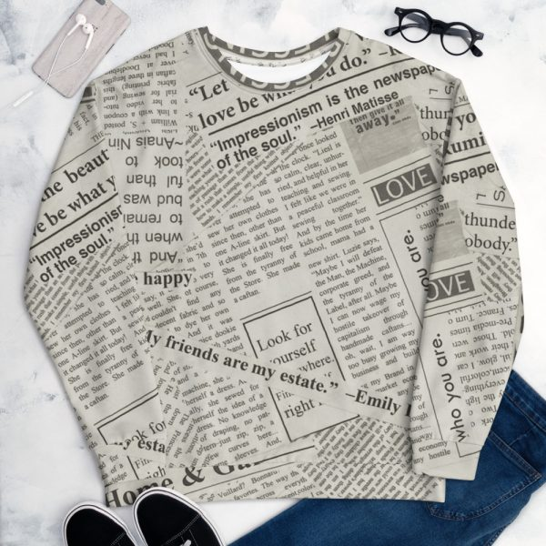 Newspaper Print Unisex Sweatshirt
