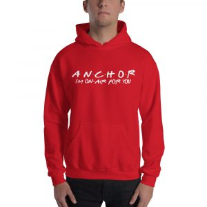 FRIENDS Themed Anchor Hoodie with White Font red