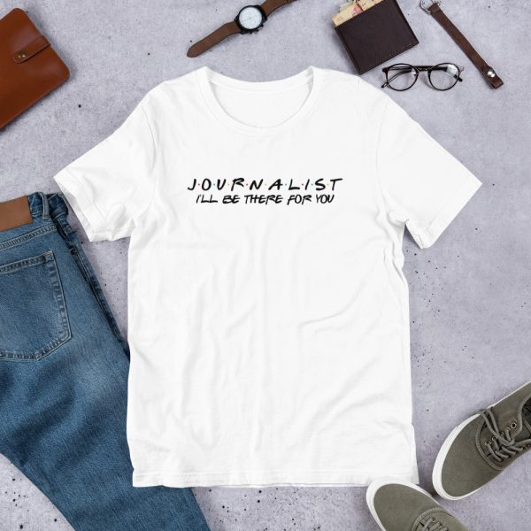 Journalist FRIENDS Themed T-Shirt with Black Font white
